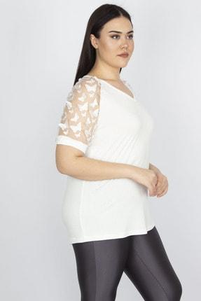 Şans Kadın Kemik Kol Detaylı Viskon Bluz 65N23078