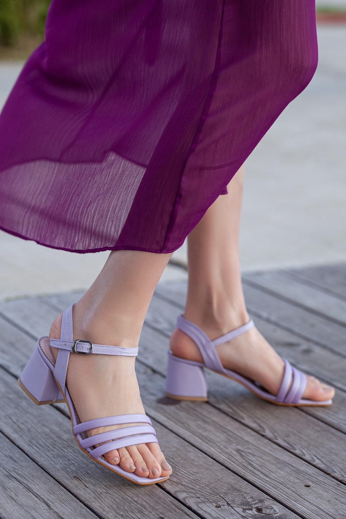 Daxtors Kadın Lila Klasik Topuklu Ayakkabı D2180 1