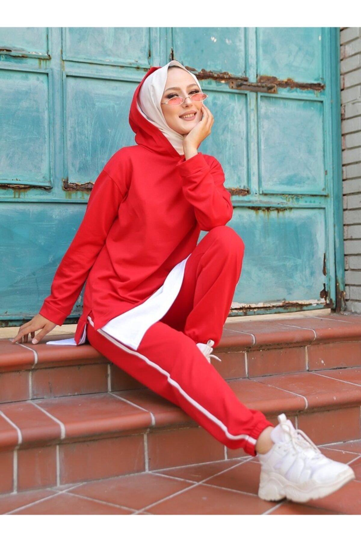 TOFİSA Kadın Kırmızı İkili Eşofman Takımı 1