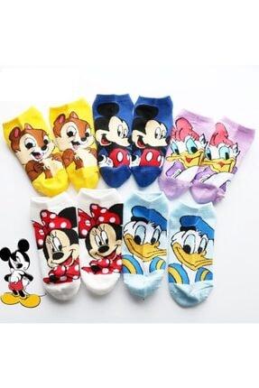 çorapmanya Kadın Sevimli Çok Renkli Karikatür Desenli Patik Çorap 5 Çift
