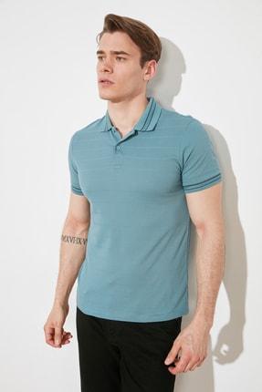 TRENDYOL MAN Mavi Erkek Kısa Kollu Slim Fit Dokulu Polo Yaka T-shirt TMNSS21PO0010