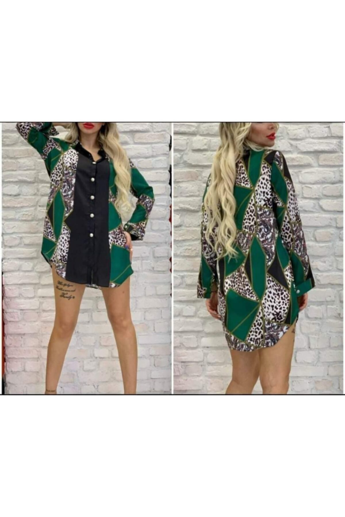 yamanoo Kadın Yeşil Kısa Elbise 2