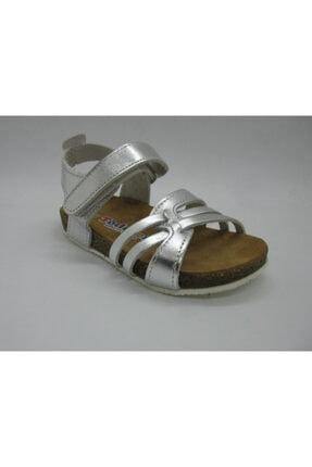 Toddler Kız Çocuk Gümüş Hakiki Deri Anatomik Mantar Taban Sandalet 21-25 01223
