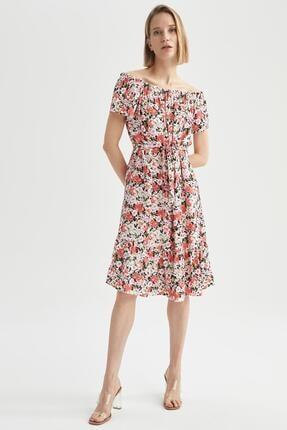 DeFacto Kadın Bordo Çiçek Desenli Omuzu Açık Elbise