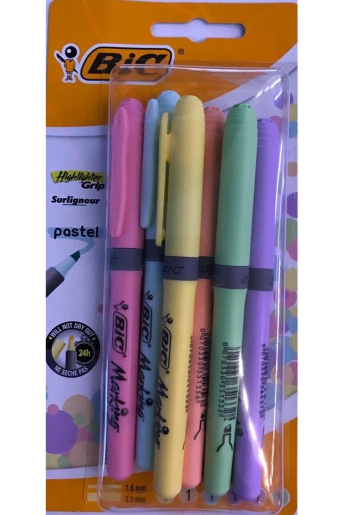 Bic Kalem Tipi Fosforlu Kalem Pastel Renk 6'lı 1