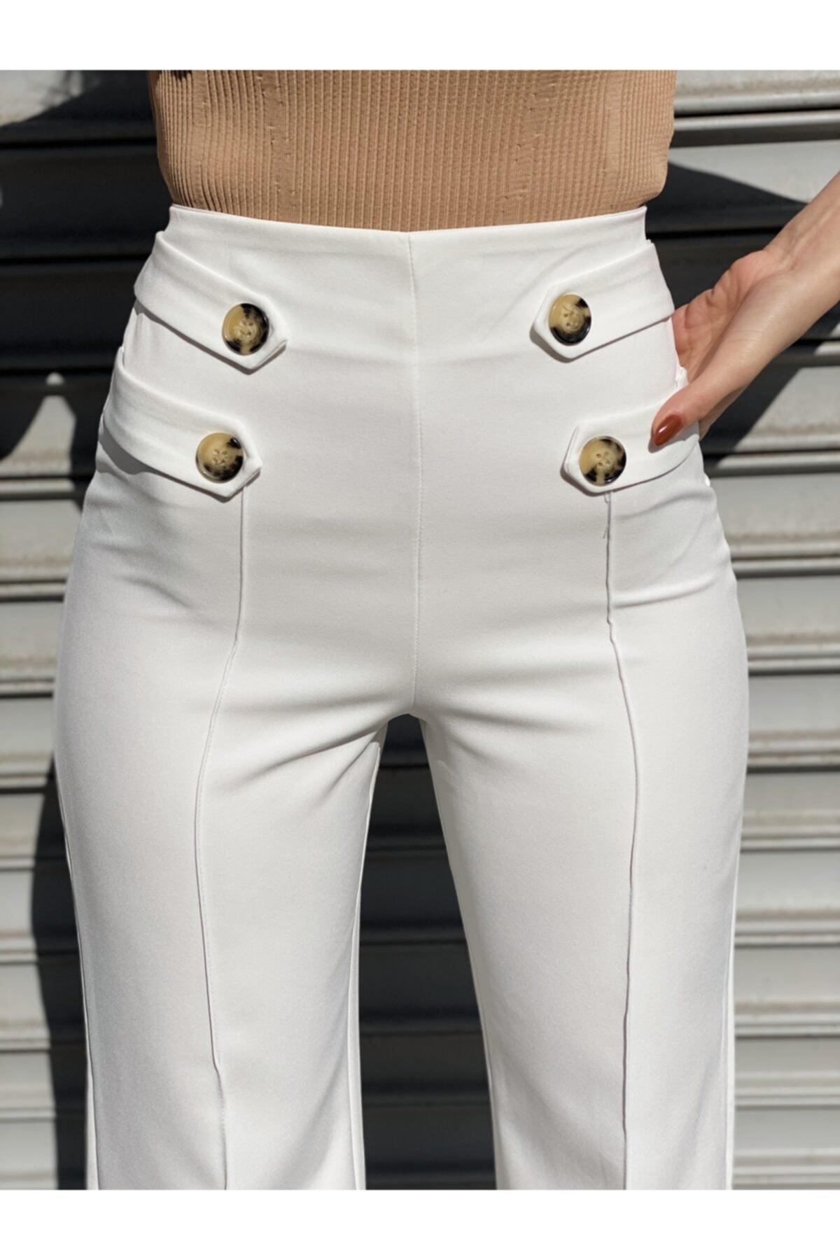 Ekocbutik Kadın Beyaz Düğmeli Kumaş Pantolonu 2