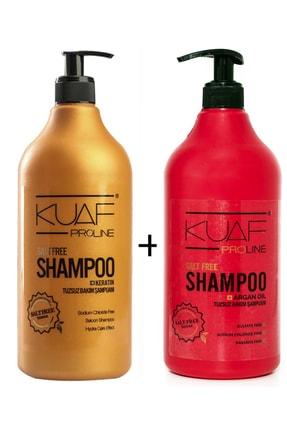 Kuaf Tuzsuz Keratin Bakım Şampuanı 1000ml + Tuzsuz Argan Yağlı Bakım Şampuanı 1000ml