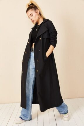 VOLT CLOTHİNG Kadın Siyah Şal Yaka Düğmeli Trençkot