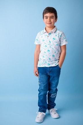 Zeyland Mavi Surf Baskılı Polo Yaka T-shirt (5-14YAŞ)