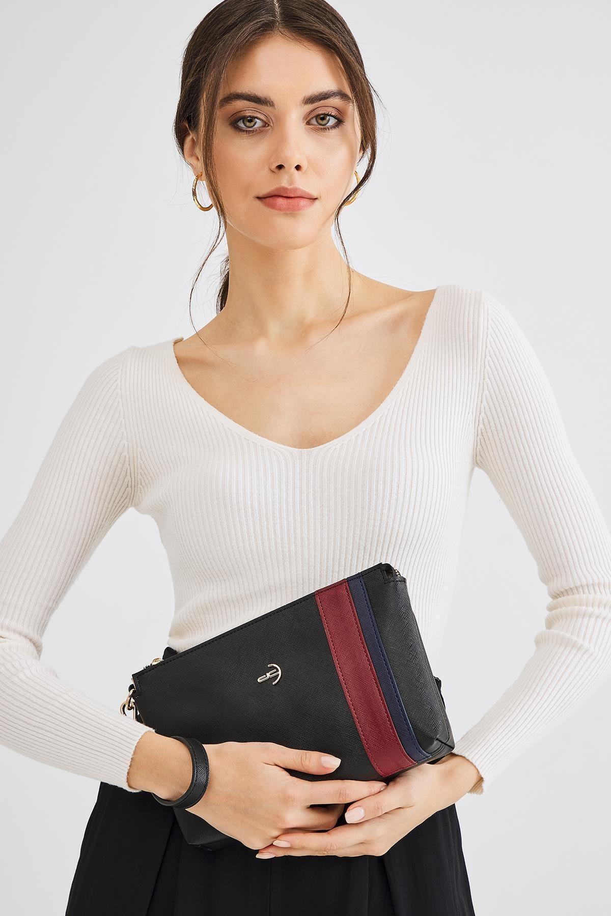 Deri Company Kadın Basic Clutch Çanta Düz Desenli Şeritli Logolu Siyah Bordo (4006s-bl) 214012 1