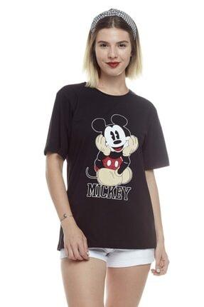 TENA MODA Kadın Siyah Mickey Mouse Baskılı Tişört