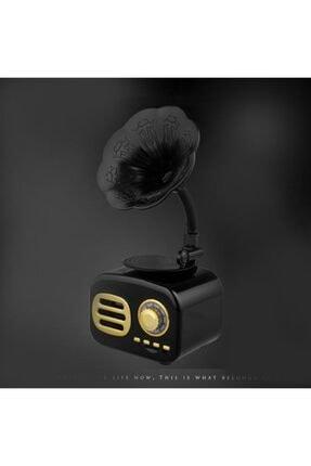 JUNGLEE Ft-05 Mini Retro Ahşap Gramafon Radyo Music Box Bluetooth Hoparlör Siyah