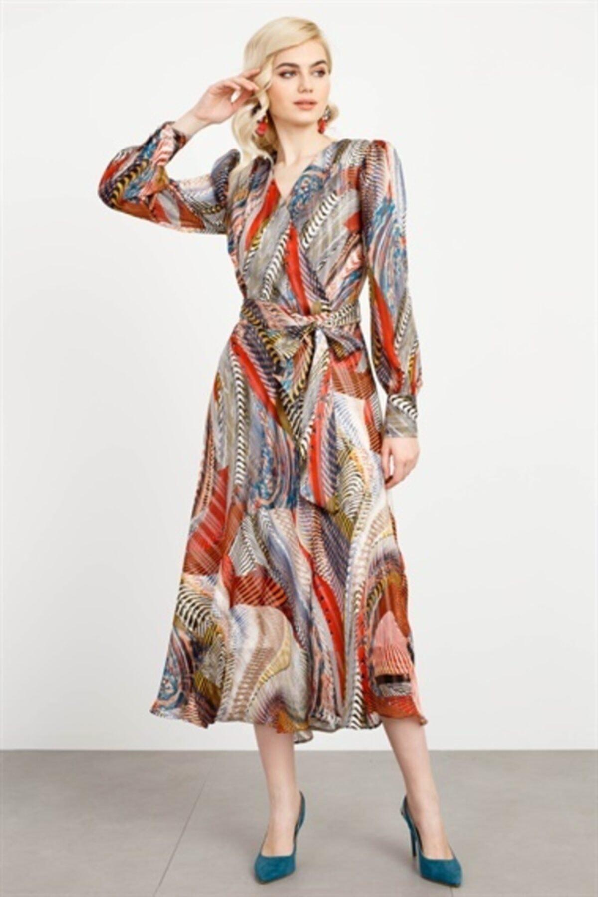 Moda İlgi Kadın Desenli Kruvaze Volanlı Elbise 2