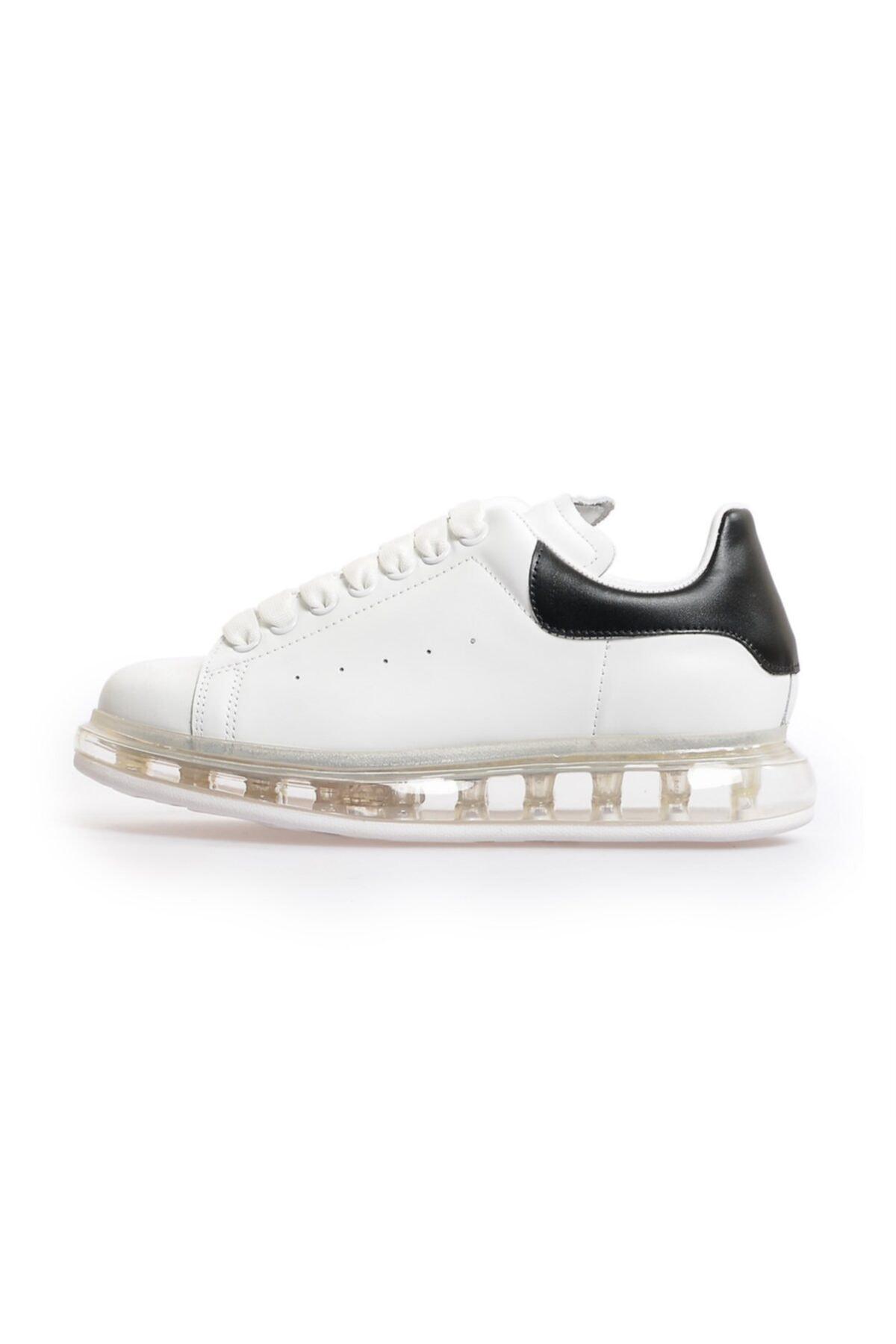 Flower Beyaz Siyah Deri Şeffaf Taban Kadın Sneakers 1
