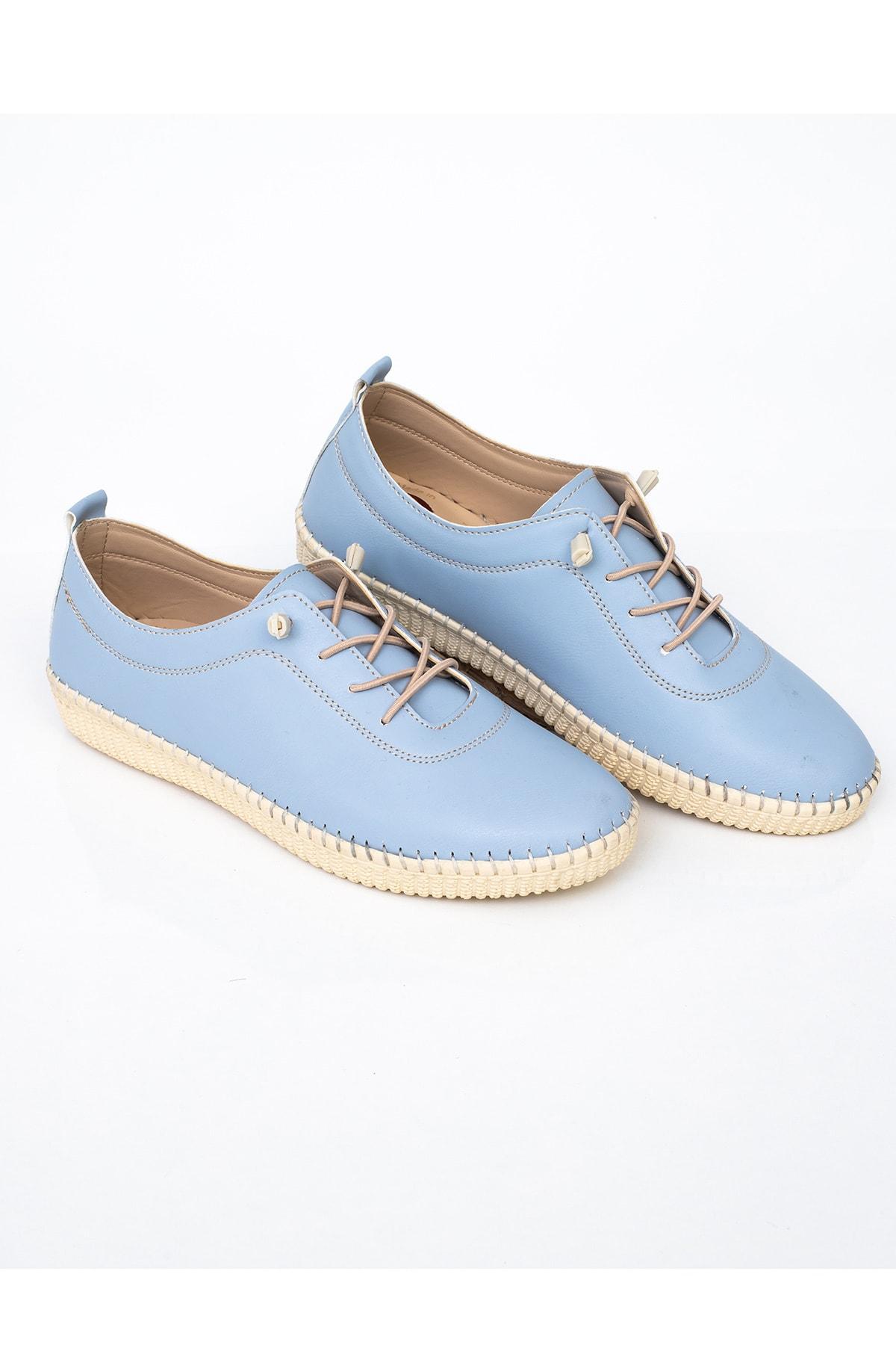MelikaWalker Comfort Ve Ortopedik Bayan D. Mavisi Günlük Rahat Lastik Bağcıklı Hava Alabilen Bayan Ayakkabı 1