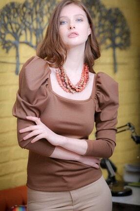 Chiccy Vintage Kare Yaka Balon Kol Detaylı Bluz