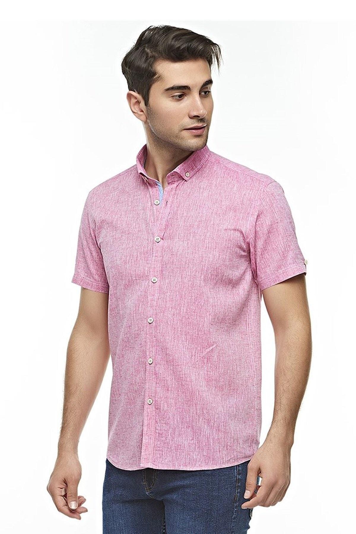 Ottomoda Kısa Kollu Keten Gömlek Pink 1