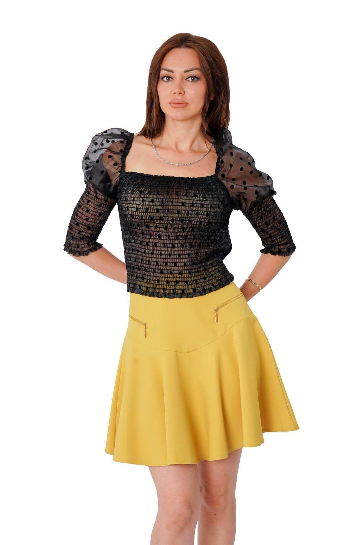 MissVina Kadın Siyah Gipeli Puantiyeli  Bluz Y-7590 1