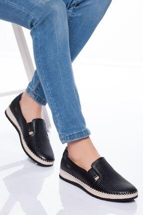 derithy Kadın Siyah Hakiki Deri  Ayakkabı