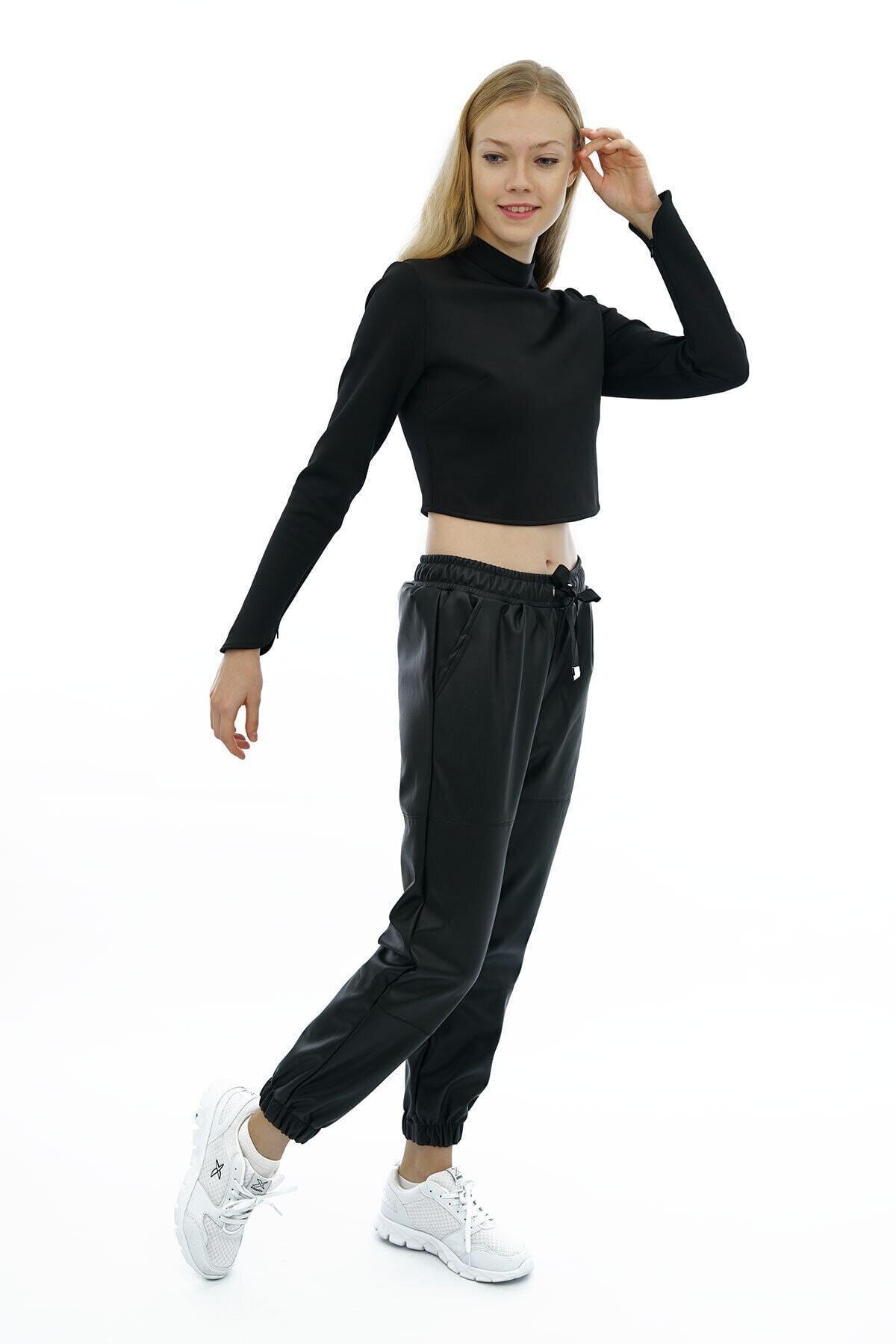 BEBE PLUS Kadın Siyah Beli Ve Paçası Lastikli Deri Pantolon 2