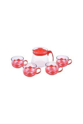 Taşev Bambum Guardo 5 Parça Cam Çay Seti Kırmızı