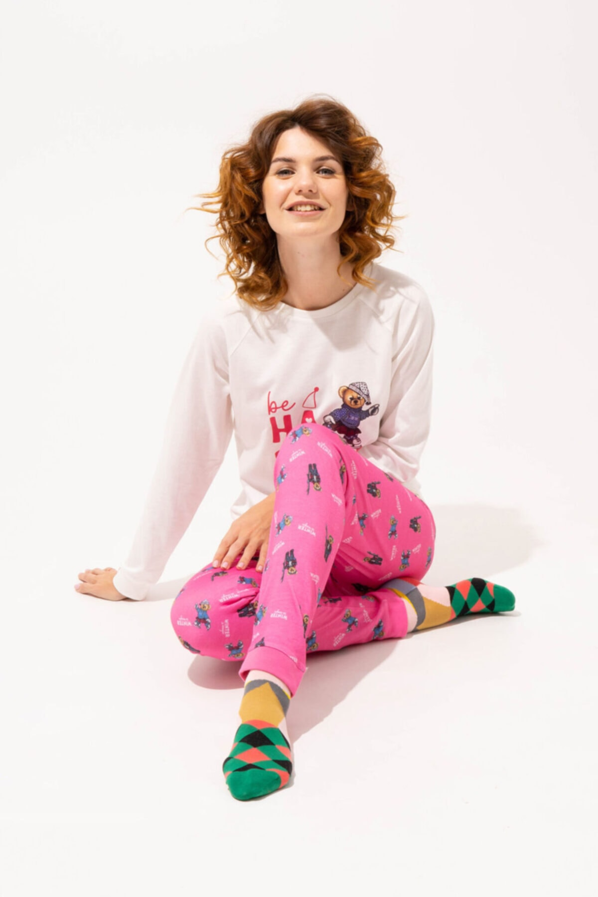 Katia&Bony Teddy Bear Happy Kadın Pijama Takımı - Ekru 1