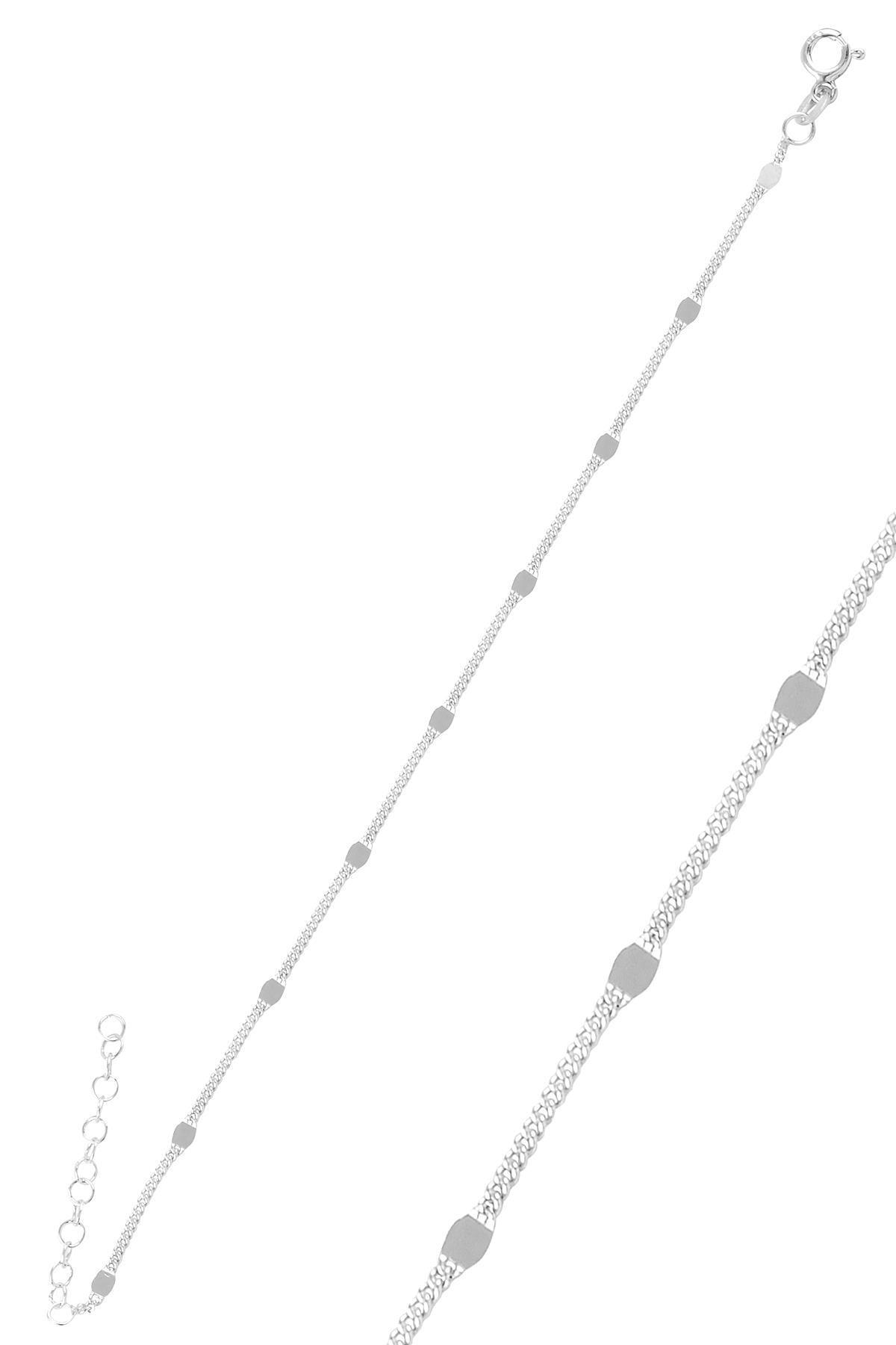 Söğütlü Silver Gümüş Rodyumlu  Pullu Gurmet  Zincir Bileklik