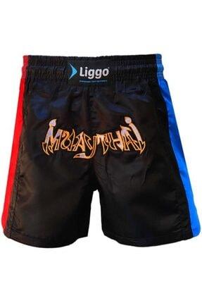 Liggo Erkek Siyah Nakışlı Muaythai Kickboks Boks Şortu