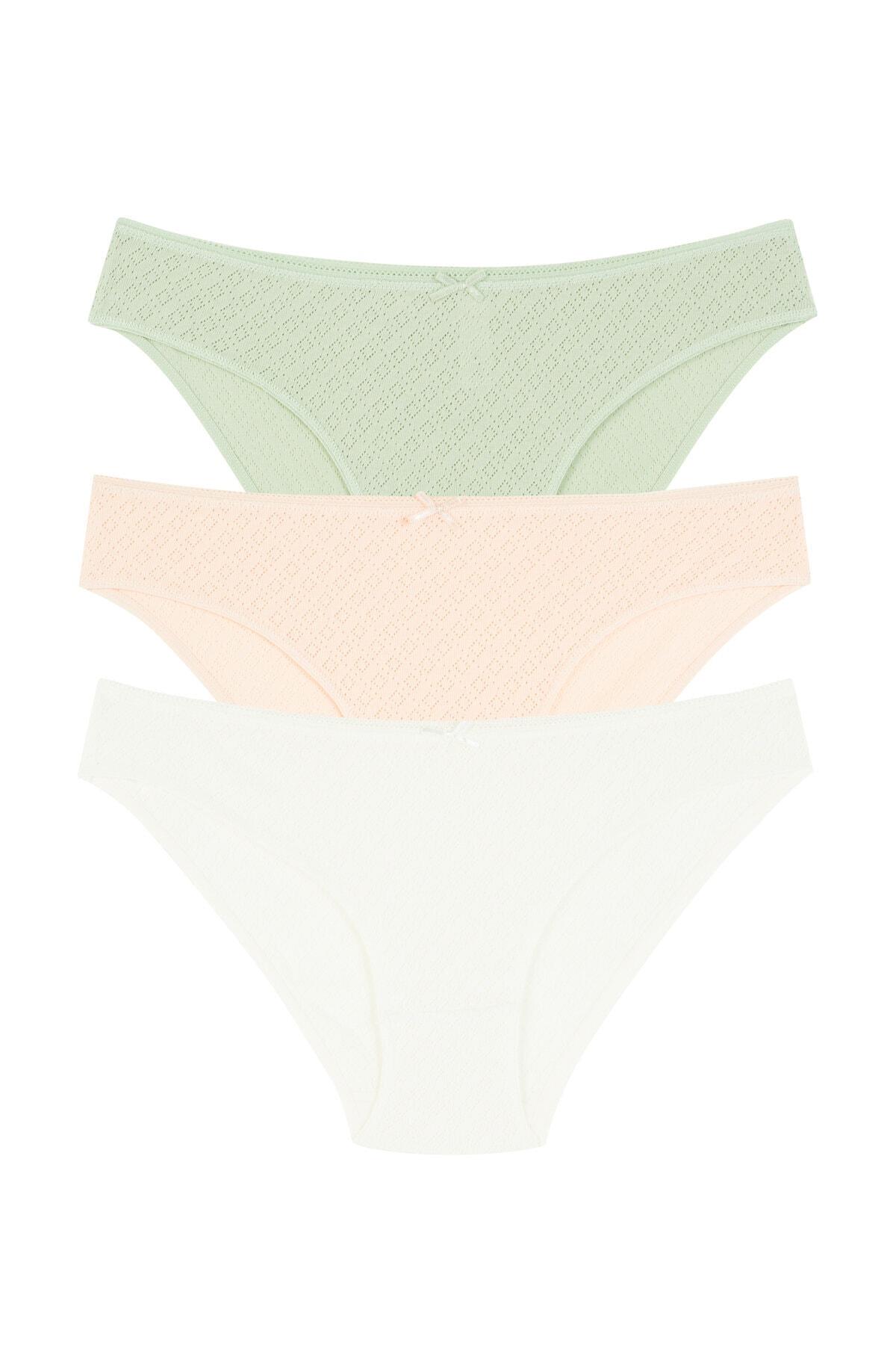Penti Kadın Çok Renkli Soft Pointel Pure 3Lü Slip Külot