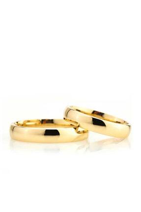 Gümüşcüm Bombeli 4mm Altın Kaplama Gümüş Alyans Bayan Söz Ve Nişan Yüzüğü