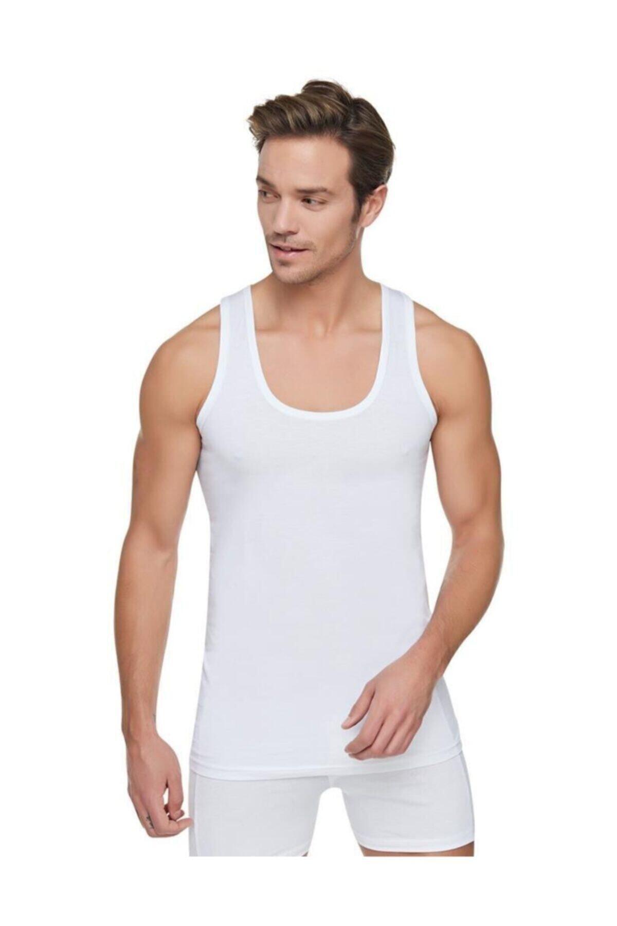 Tutku Erkek Beyaz 6'lı Paket Pamuklu Penye Atlet Beyaz 1