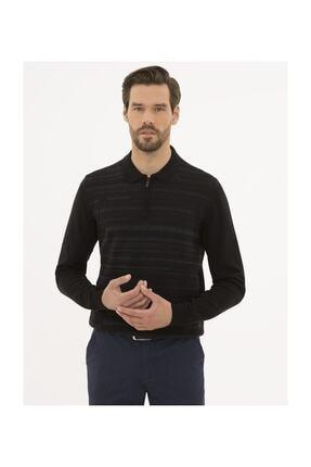 Pierre Cardin Erkek Siyah Slim Fit Polo Yaka Triko Kazak G021SZ0TK.000.1156711