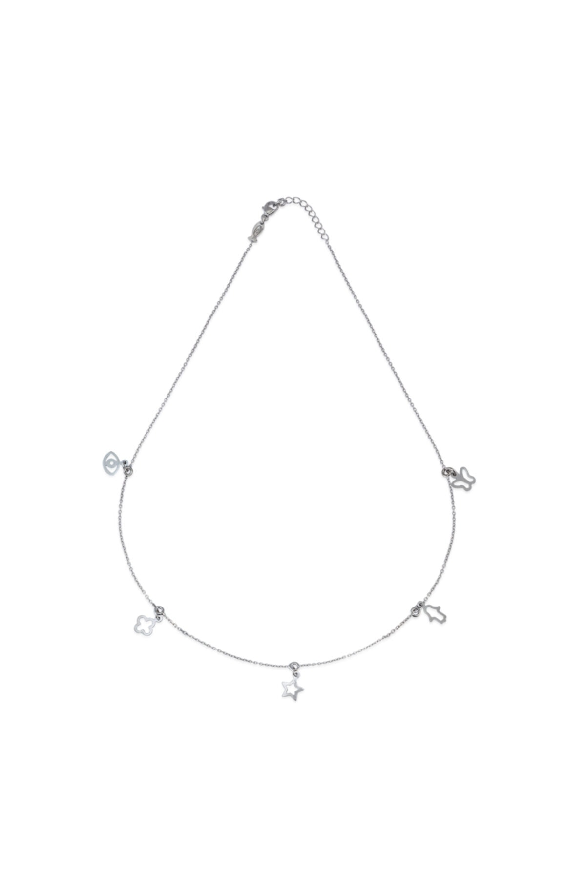 KURSHUNI Kadın Beyaz 925 Ayar Gümüş Tılsım Kolye PR002-2 1