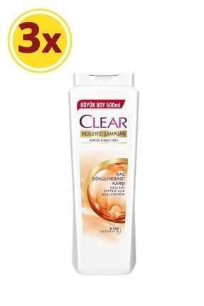 Clear Saç Dökülmesine Karşı Etkili Şampuan 600ml X3