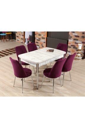 MYMASSA Elit Trend Antik Beyaz Mutfak Masası ve 6 Mor Gold Sandalye Takımı