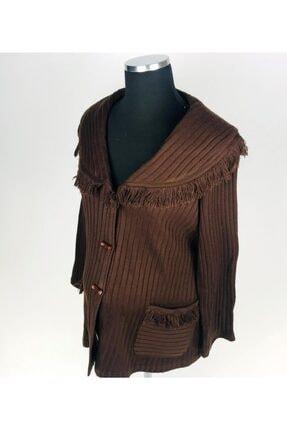 sny Yuvarlak Yaka Çizgi Desenli Düğmeli Uzun Kahverengi Hamile Ceket