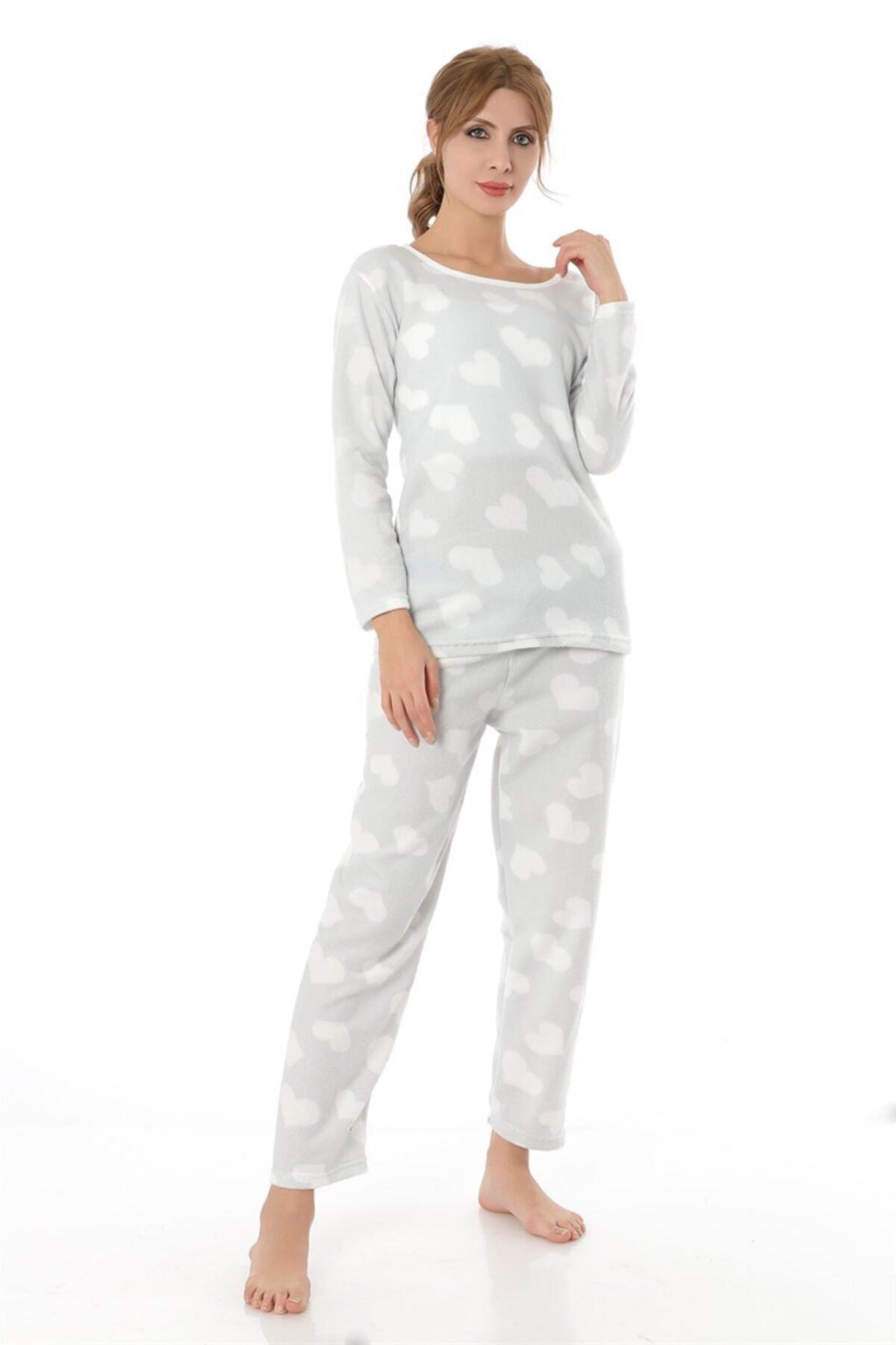 ZİNCiRMODA Polar Pijama Takımı - Gri 1