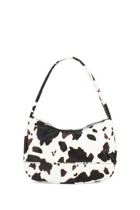 Housebags Kadın Siyah Beyaz Desenli Baguette Çanta 197