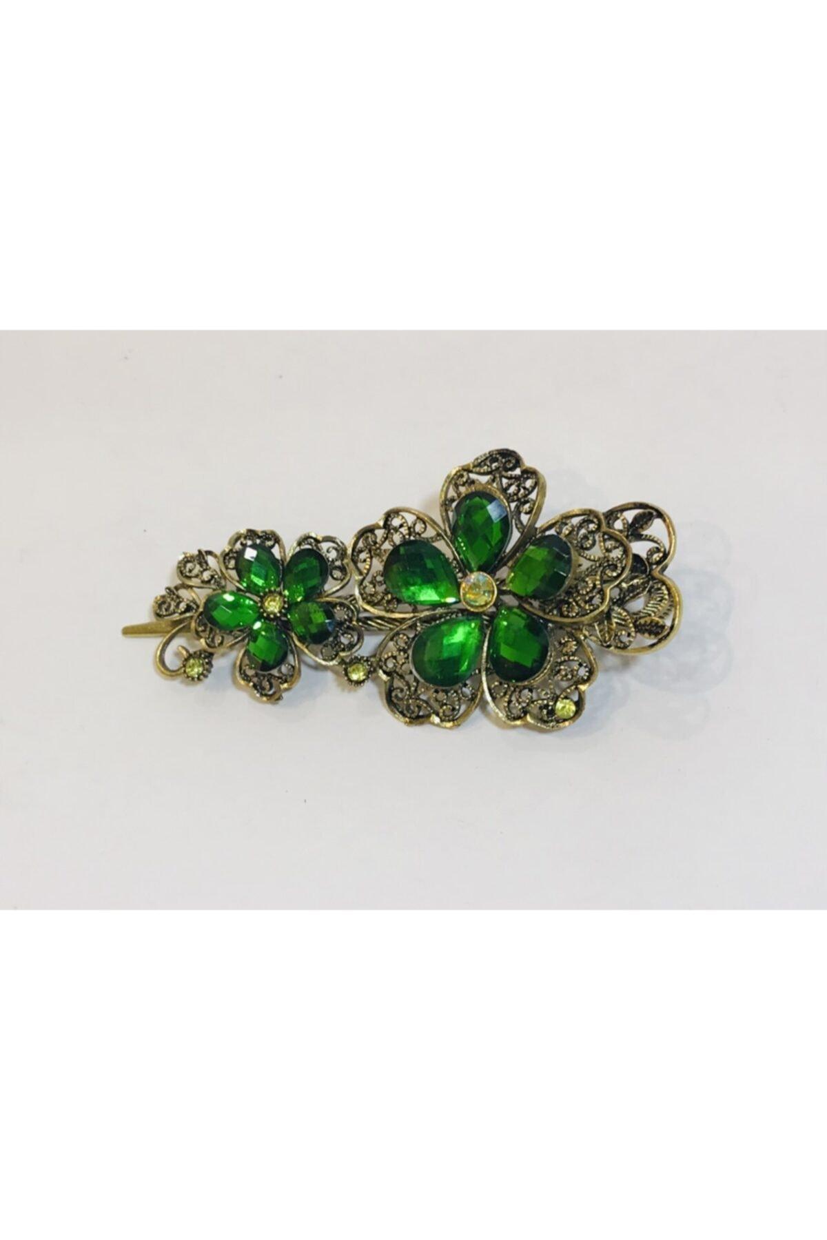 Mima Kristal Taşlı Çiçekli Otantik Metal Yeşil Toka 2