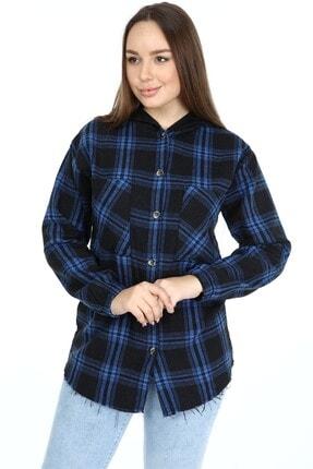 Big Free Kadın Siyah Ekose Kapişonlu Kol Lastik Oduncu Gömlek
