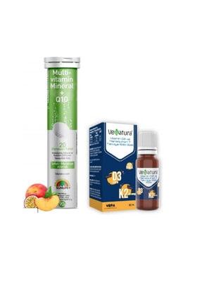 Sunlife Multivitamin, Mineral Ve Koenzim Q10 Içeren 20 Efervesan Tablet+venatura D3 K2 Vitamini 20 Ml Damla