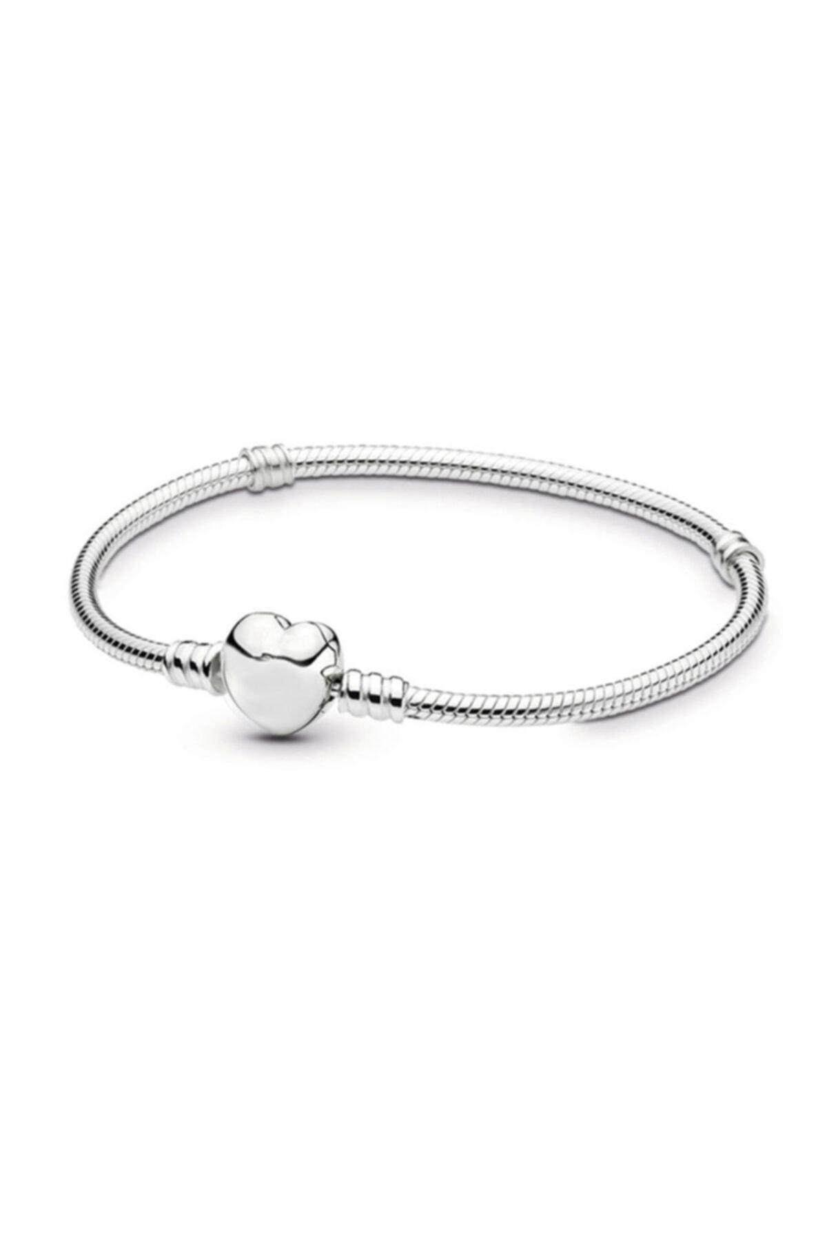 Chavin Pandora Tarzı Gümüş Kaplama Kalp Bileklik Eh01by 1