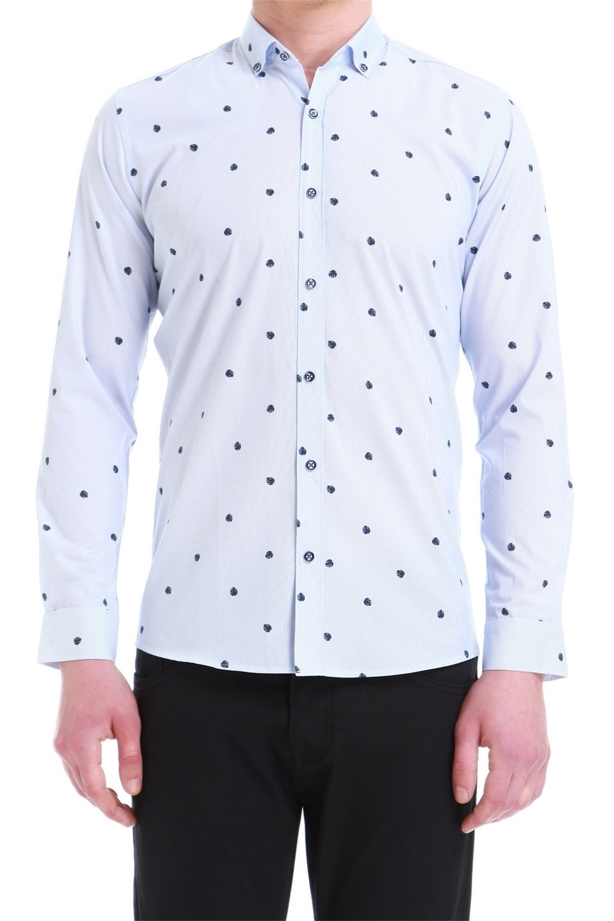 Efor Erkek Mavi Slim Fit Klasik Gömlek Gk 550 1