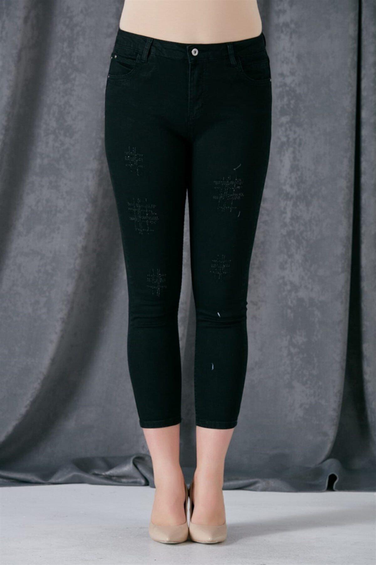 RMG Kadın Siyah Taş Detaylı Kot Pantolon 1