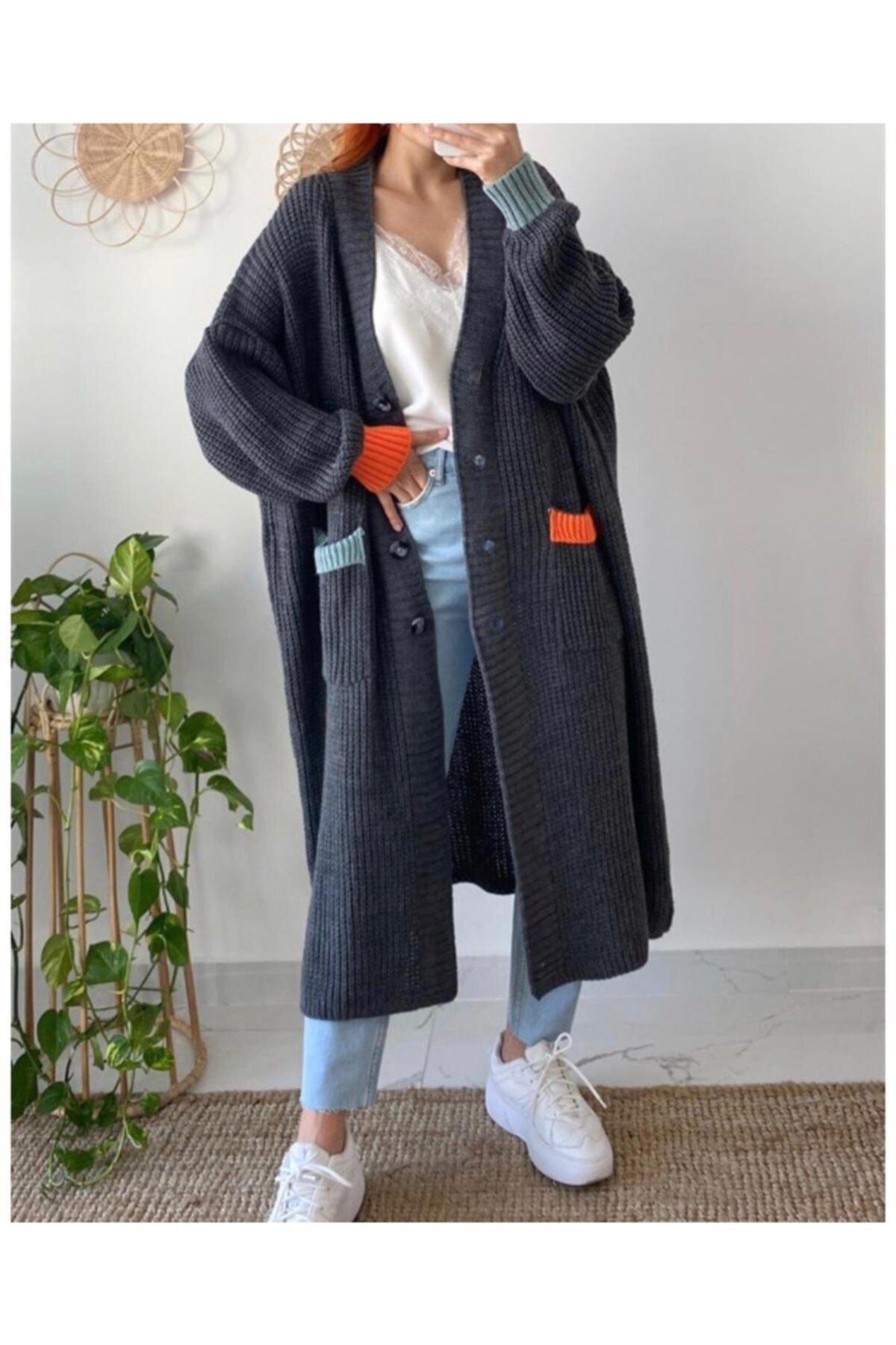 Maystore Kadın Gri Renk Detaylı Kalın Örme Uzun Triko Hırka 2