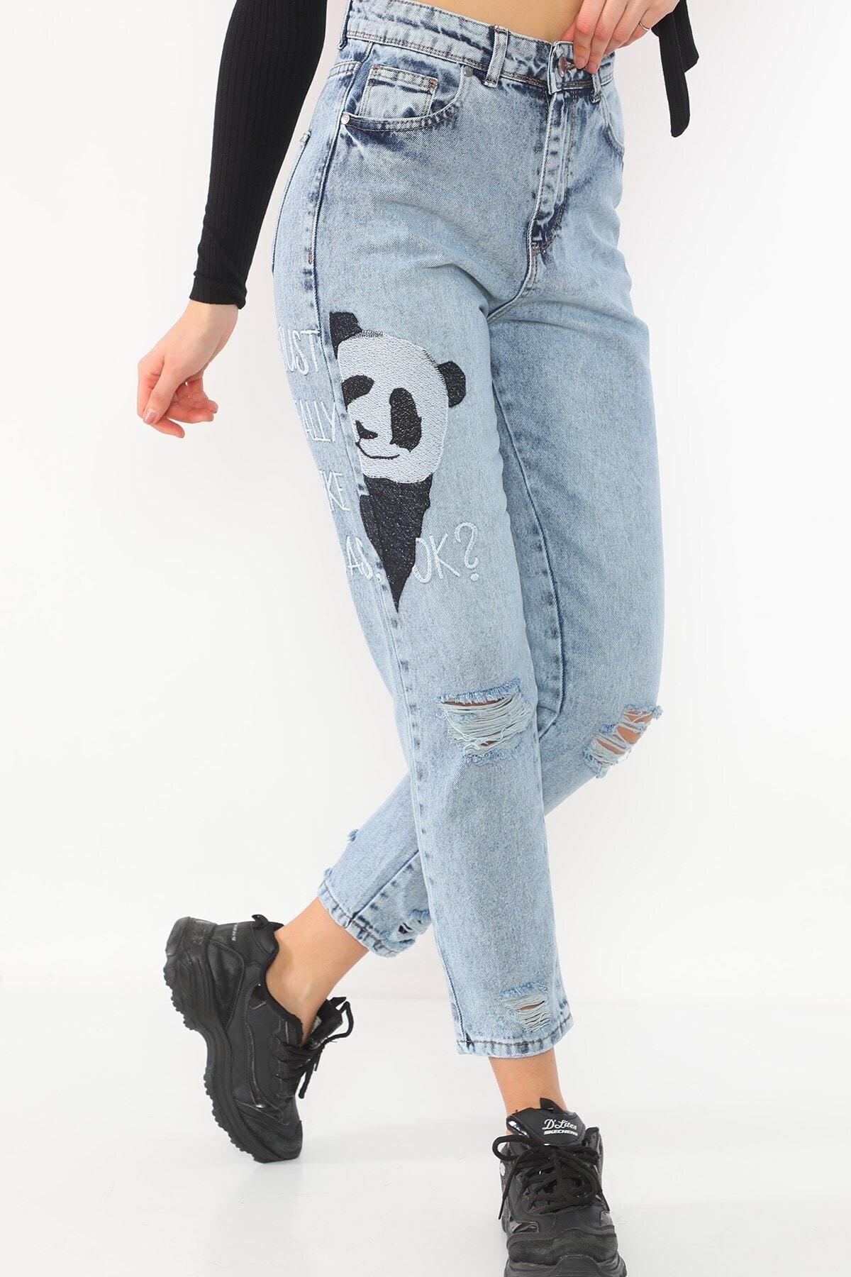 PodiumStar Yüksek Bel Panda Nakışlı Mom Jeans Kot Pantolon 1