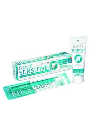R.O.C.S. Rocs Sensitive Repair White - Onarım Ve Beyazlatma Florürsüz Diş Macunu + Soft Diş Fırçası Seti