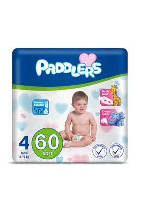 Paddlers Bebek Bezi 4 Numara Maxi 60 Adet (8-19 Kg) Jumbo Paket