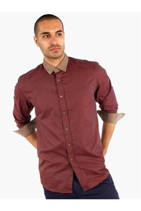 Dufy Bordo Ince Pamuklu Erkek Gömlek - Slım Fıt