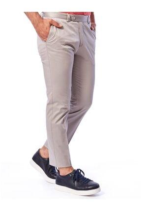 Dufy Açık Gri Düz Pamuklu Saten Erkek Pantolon - Regular Fıt